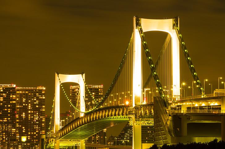 Night view of Rainbow Bridge Free Photo
