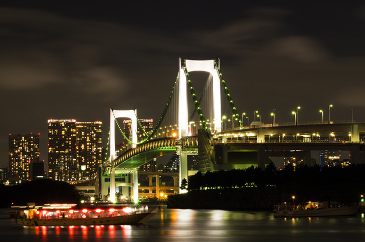 Night view of Rainbow Bridge Free Photo