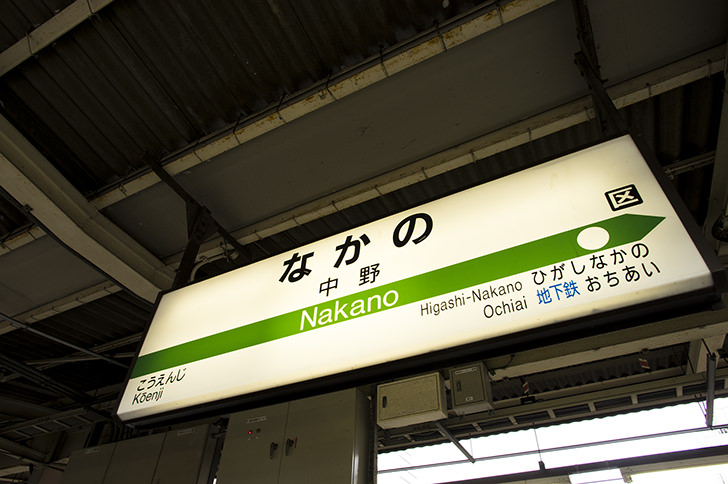 中野駅の駅名標の商用利用可能なフリー写真素材