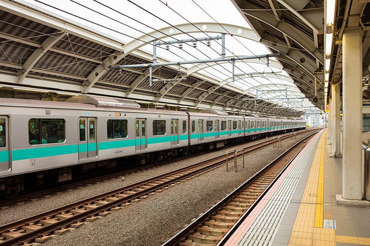 経堂駅ホームに停まるE233系電車の商用利用可能なフリー写真素材