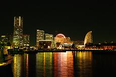 横浜の夜景のフリー写真素材