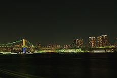 レインボーブリッジの夜景(晴海埠頭)のフリー写真素材