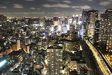 世界貿易センタービルから見た東京の夜景のフリー写真素材